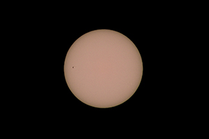 The Sun at 400mm, f/11 and 1/8000s with 32,768x ND filtration - notice the sunspot cluster